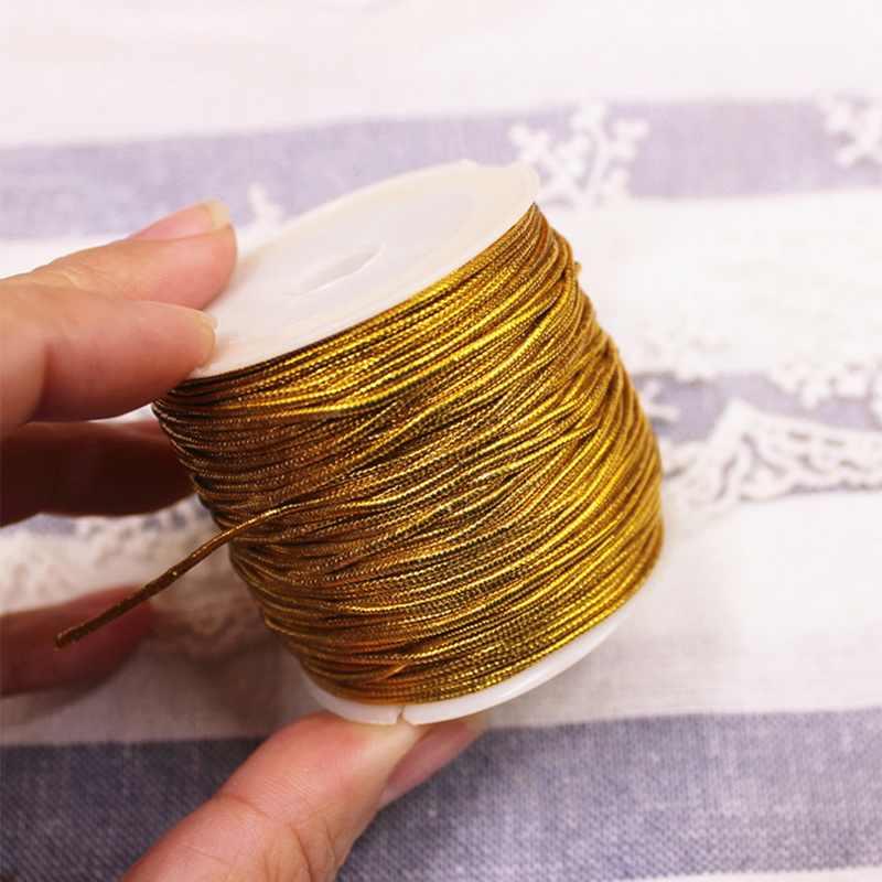 Urijk 25M/Roll Emas/Perak Kemasan Tali Ornamen Tali Tali Elastis untuk Dekorasi Rumah Natal Buatan Tangan Hadiah packing Kerajinan DIY