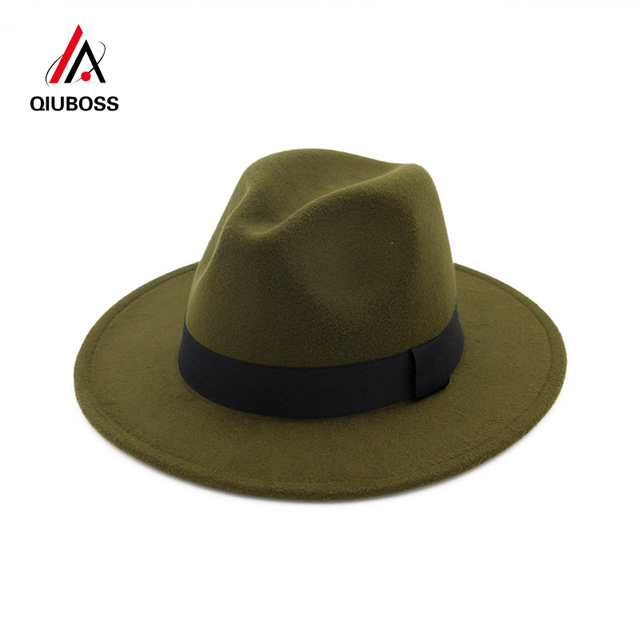 QIUBOSS ala ancha Panamá Jazz sombrero de fieltro gorro de lana hombres  mujeres vestido de ala a165ff28545