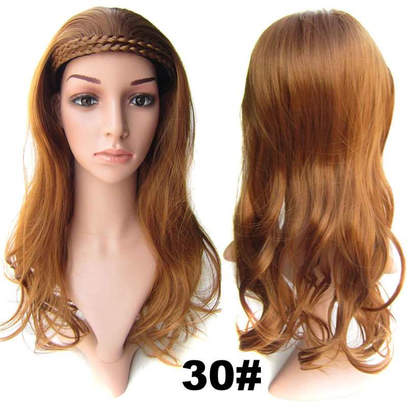 #30 Light Aubur Color Synthetic Hair Natural Wigs Medium 22inch 55cm 210g Wig Fall Wavy Heat Resistant Fiber 16Colours Available