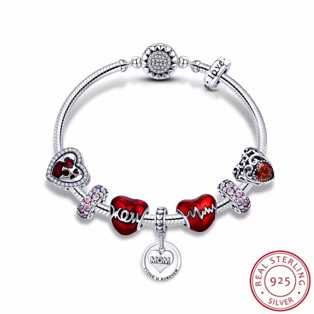 все цены на 925 Sterling Silver Romantic Heart Love MOM Forever Pendant Mother Gift Bracelets Bangles for Women Silver Jewelry SCB807
