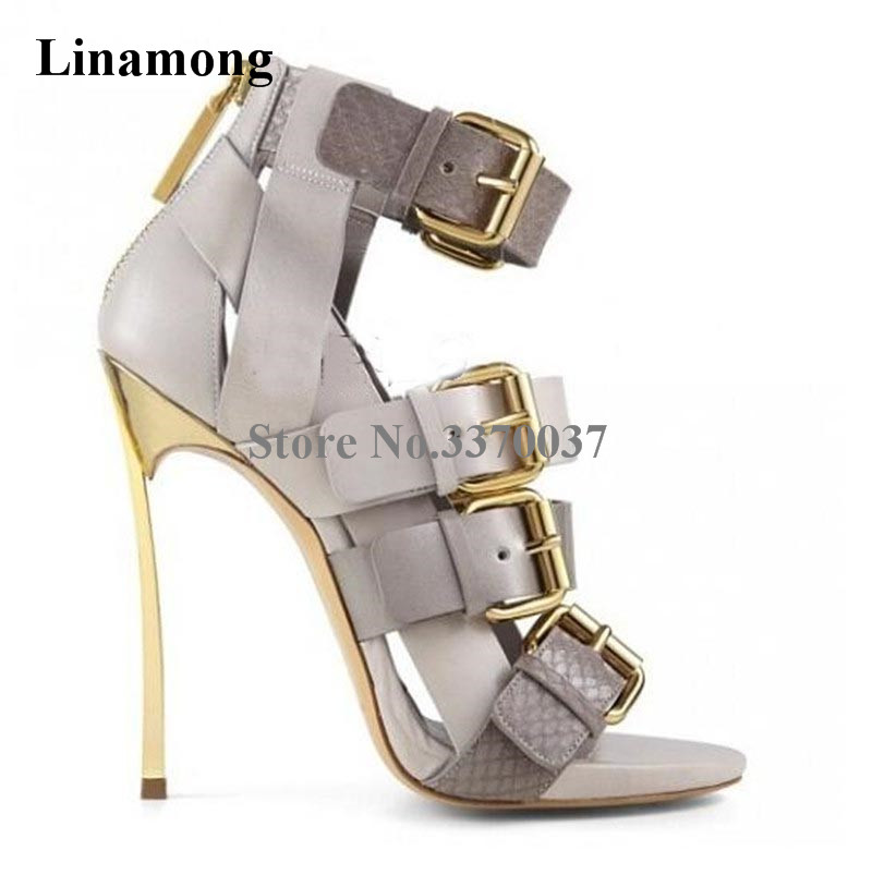Summer New Design Women Fashion Open Toe Straps Strange Heel Sandals Buckle Metal Stiletto Heel Sandals High Heel Sandals fashionable pu leather and stiletto heel design sandals for women