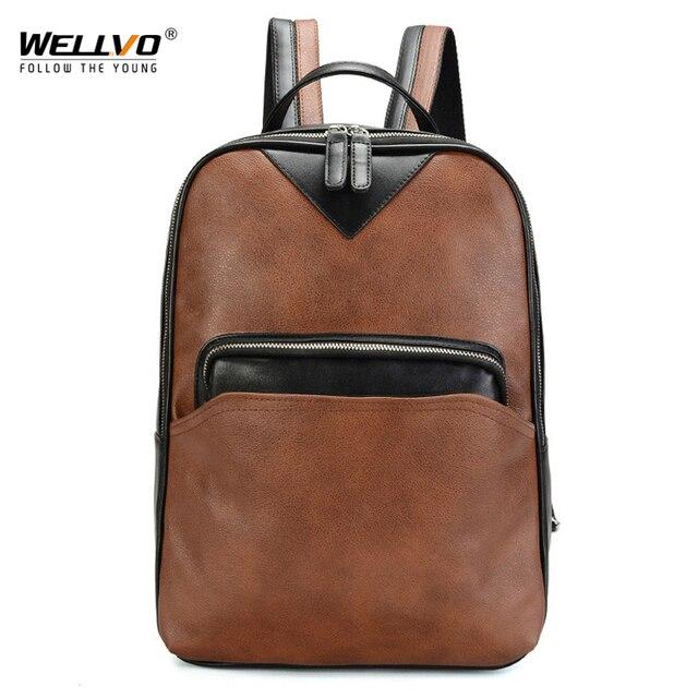 Men s Vintage Backpack Leather Backpacks School Bags Laptop Rucksack Man  Black Waterproof Travel Boys Schoolbag XA240WC db1cef1eb118d