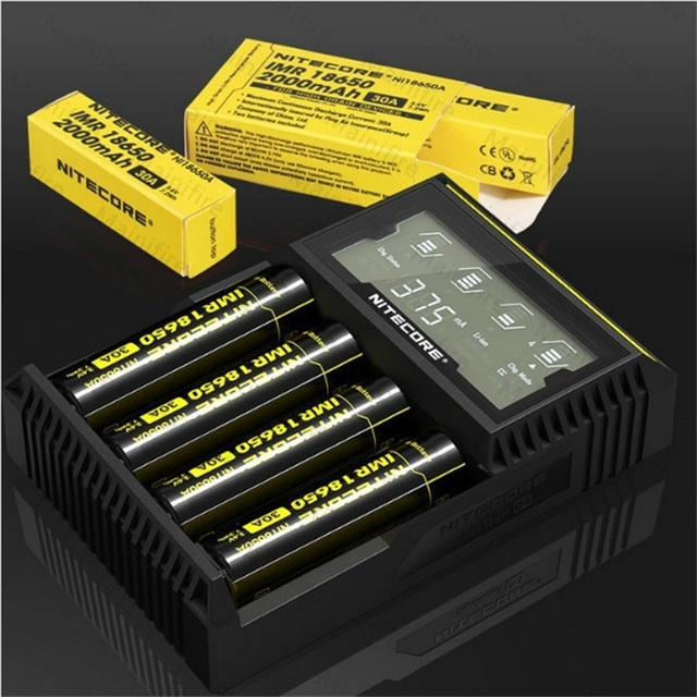 Nitecore D4 LCD displays battery charger Smart Fit lithium ion power bank AA AAA14500 16340 26650 18650 Batteries Chargers