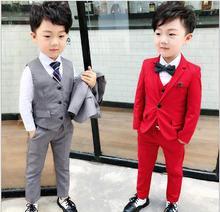 Trajes de boda para niños pequeños, chaquetas de niños formales, traje de esmoquin, ropa de fiesta, chaqueta + chaleco + pantalón, color rojo/gris, 3 uds.