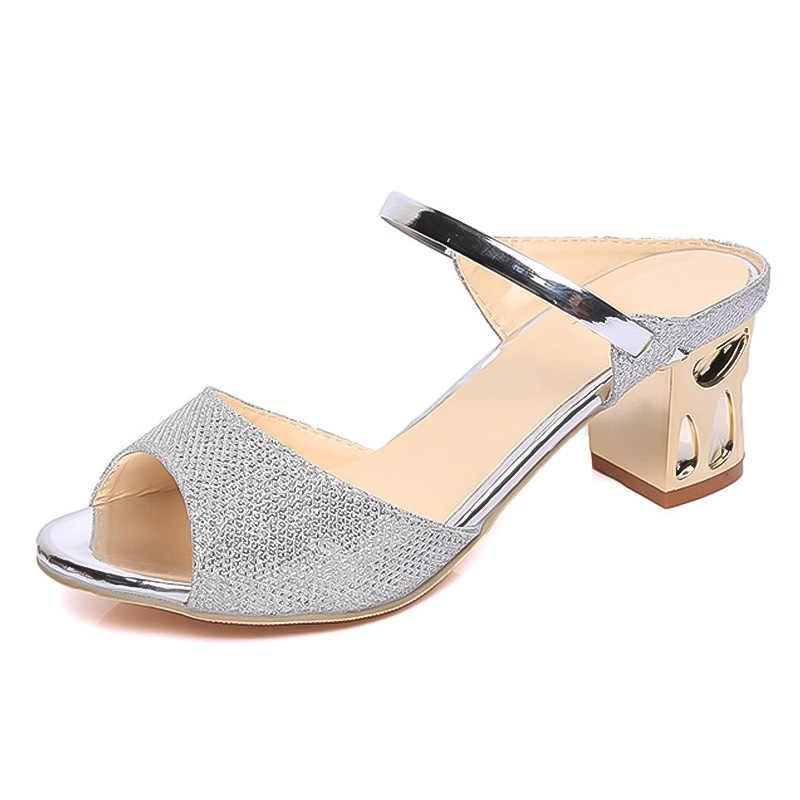 LAKESHI Metal Square Heel Women Sandals Women Heel Shoes Gold Sliver Peep Toe Party Ladies Sandals 2019 Summer Sandals Woman