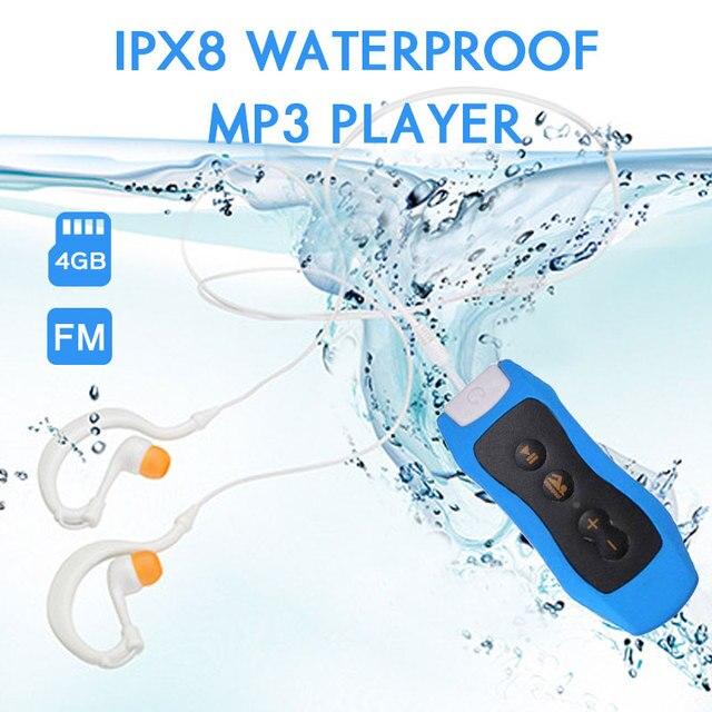 גבוהה באיכות Mp3 נגן 4GB IPX8 עמיד למים שחייה MP3 לקיץ צלילה חיצוני ספורט FM רדיו מוסיקה נגן עם אוזניות