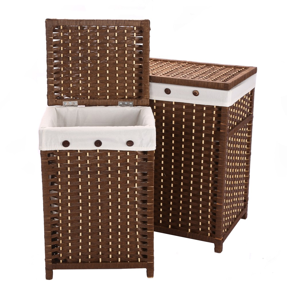 Laundry Storage Organizer Basket Hamper Closet Paper Rope Woven Laundry  Sorters With Lid Cloth Toy Organizer Basket Box Panier
