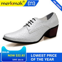 Merkmak Men Oxford Dress Shoes Lace Up Pointed Toe High Heels Luxury Gold Silver Wedding Groom Shoes Bling Glitter Party Prom