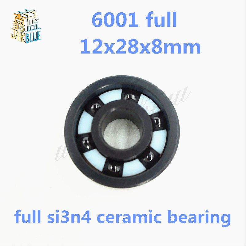 Free shipping 6001 full SI3N4 ceramic deep groove ball bearing 12x28x8mm P5 ABEC5 1pcs 6001 2rs 6001rs 6001 rs 12 28 8mm hybrid ceramic ball deep groove ball bearing 12x28x8mm for bicycle part