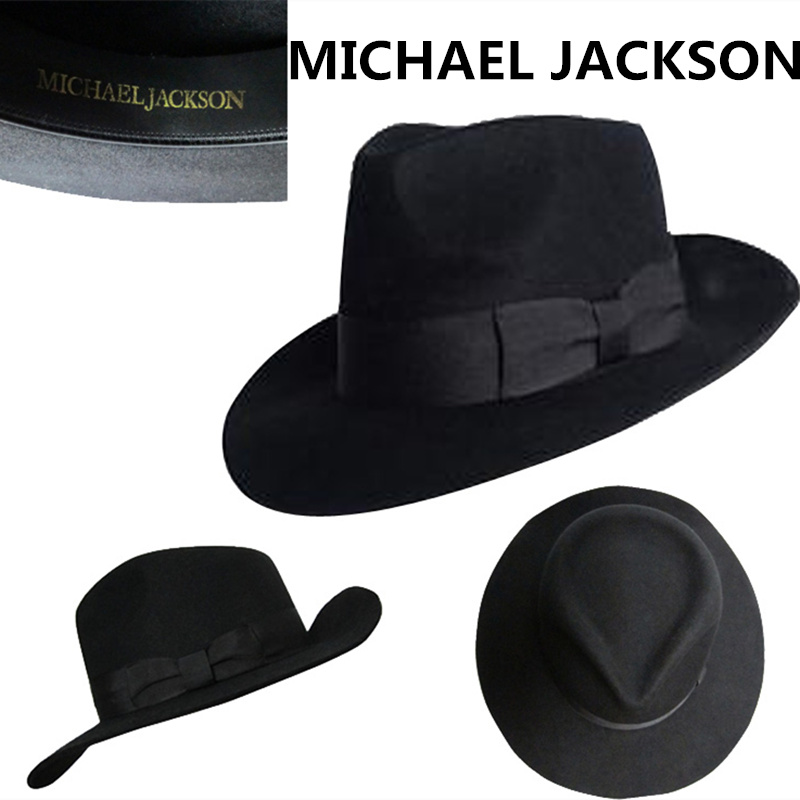 647efe5f1 US $90.93 30% OFF|The Best Fedora Black Wool Retro Hat of Michael Jackson  for MJ fans with Name Formal Gentry-in Men's Fedoras from Apparel ...
