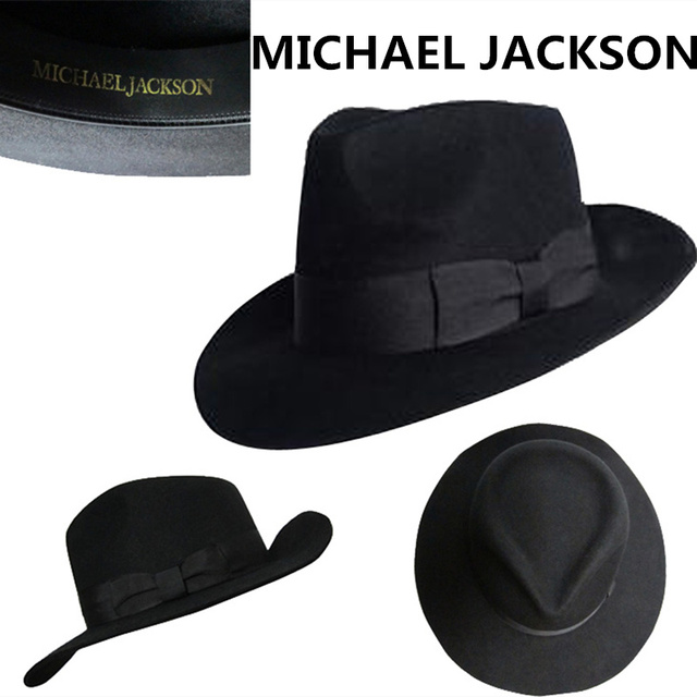 The Best Fedora Black Wool Retro Hat of Michael Jackson for MJ fans with  Name Formal f6a7b4b3a2eb
