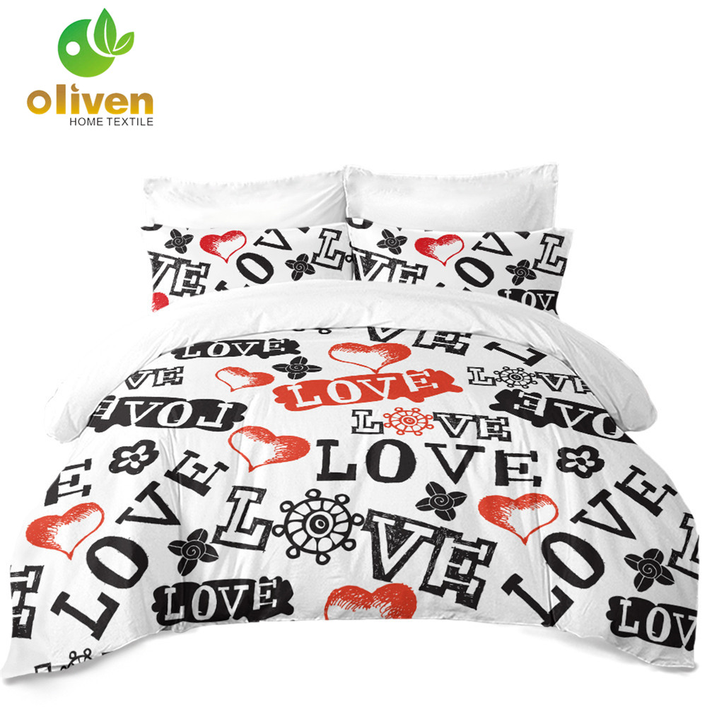 d8f64a37a0 Couples Bedding Set Letter LOVE Heart Print Duvet Cover Set King Queen  Quilt Cover Valentine's Day Bedding Bedroom Decor D49