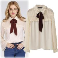 2019 England Style Women's Summer Splice Lace Bow Temperament Slim Hollow Out Elegant Women Blouses Tops 5XL