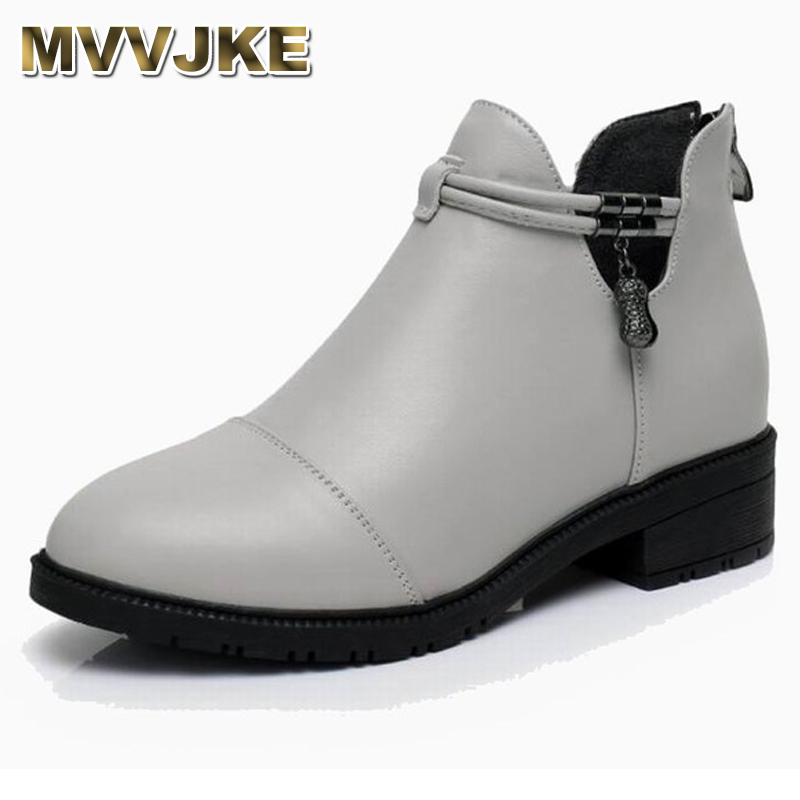 MVVJKE Fashion Women Martin Boots Autumn Winter Boots Med Heel Ankle Boots Genuine Leather Thin Plush Women Shoes ankle strap martin boots pointed ends genuine leather boots thin heel women ankle boots fashion punk style winter boots