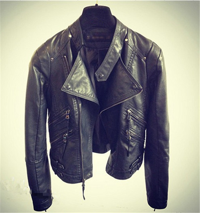 2017 Sale Time-limited Fashion Full Mandarin Collar Zipper Pockets Zippers Women Jackets Pu Leather Motorcycle Jacket Female