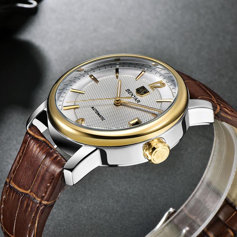 BENYAR Men 39 s Watches Mechanical Watch Luxury Business Brand Leather Watch Calendar Waterproof Men Automatic Watch Montre Homme in Quartz Watches from Watches