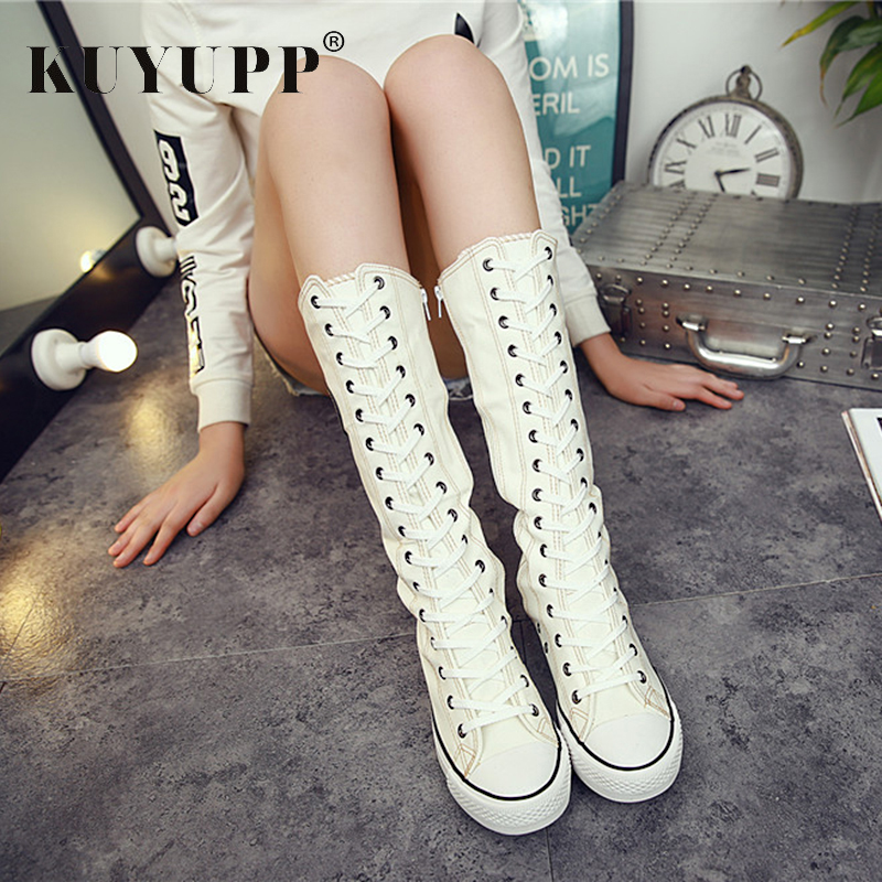 Plus Size 9 10.5 Autumn Canvas Women Boots Knee-high Flat Superstar Comfortable High Boots Lace-up Ladies Winter Shoes KBT1082