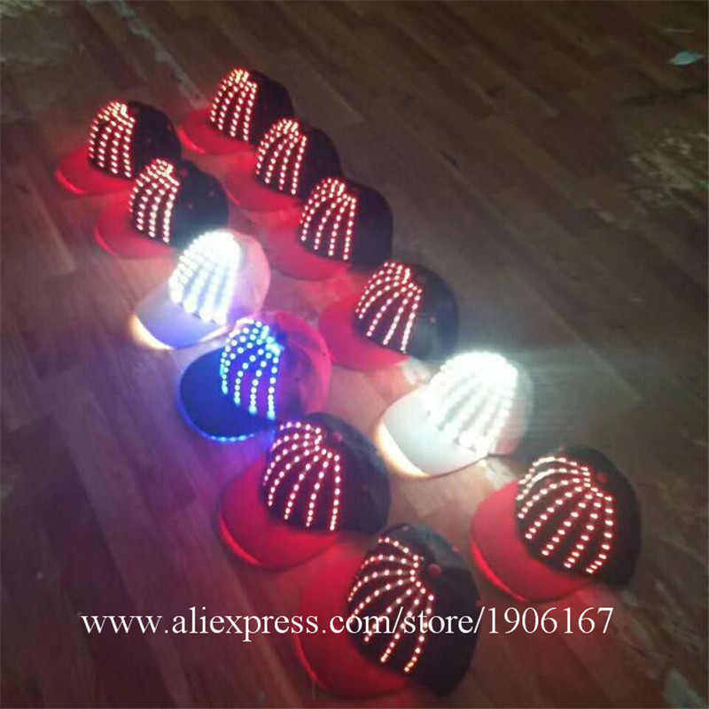 Wholesale 5 Pcs LED Luminous Hats Light Up Party Cap Hat Halloween Christmas Stage Dancing Bar DJ Hearwear Birthday G