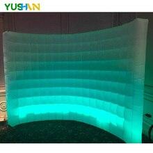 купить 9.8*7.8ft print your logo white inflatable wall with led strip for wedding event по цене 23447.23 рублей