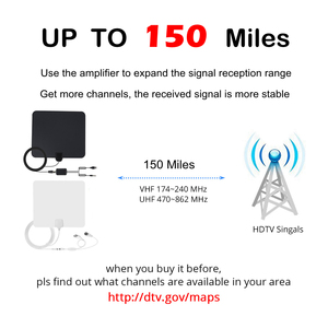 Image 3 - 150 Miles Indoor DTV Digital TV Antenna HDTV Antena HD Cable TV Antena with Signal Amplifier Booster DVB T/T2 UHF VHF Antennas