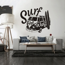 Kids Car Wall Decal Surf the Wave with Camper Sticker Old Vintage Auto Mural Vinyl Van Poster W175