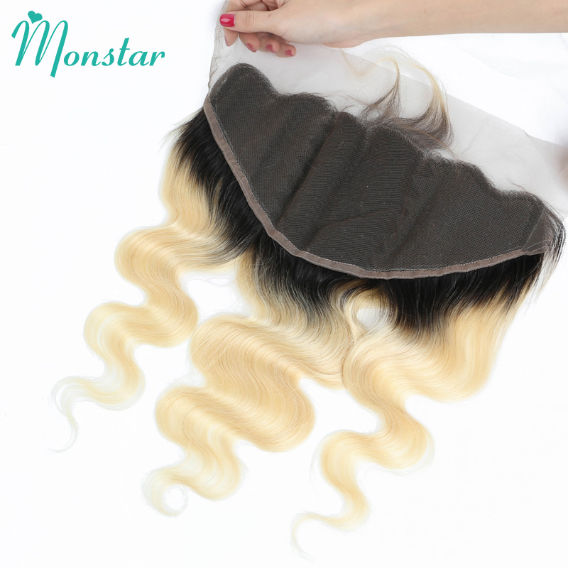 Monstar 13x6 Lace Frontal 1B 613 Ombre Blonde Color Dark Root Brazilian Remy Human Hair Body