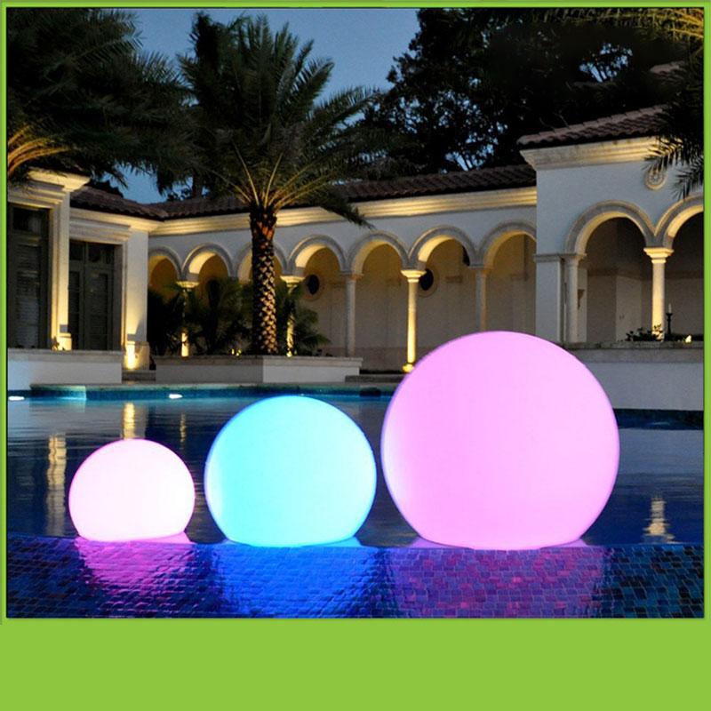 Led Outdoor Solar Lighting Ball Light Waterproof RGB Luminous Lawn Light Remote Control Floating Ball Lamp Swimming Pool Yard #