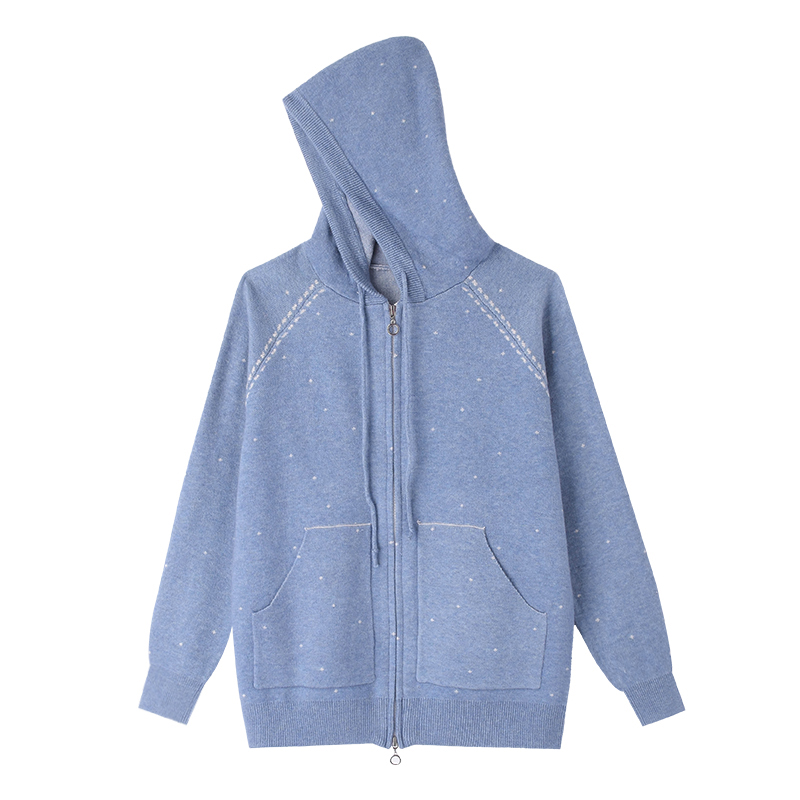 md2b2018 autumn and winter clothing new simple hooded zipper loose fashion double pocket knit jacket b14jp9603