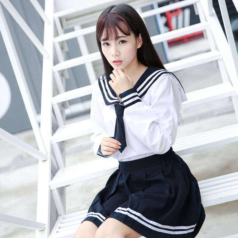 High-quality JK Uniform Japanese Sailor Suit Girl School Uniform Kansai Collar Student Short-sleeve Pleated Skirt Suit Navy Blue