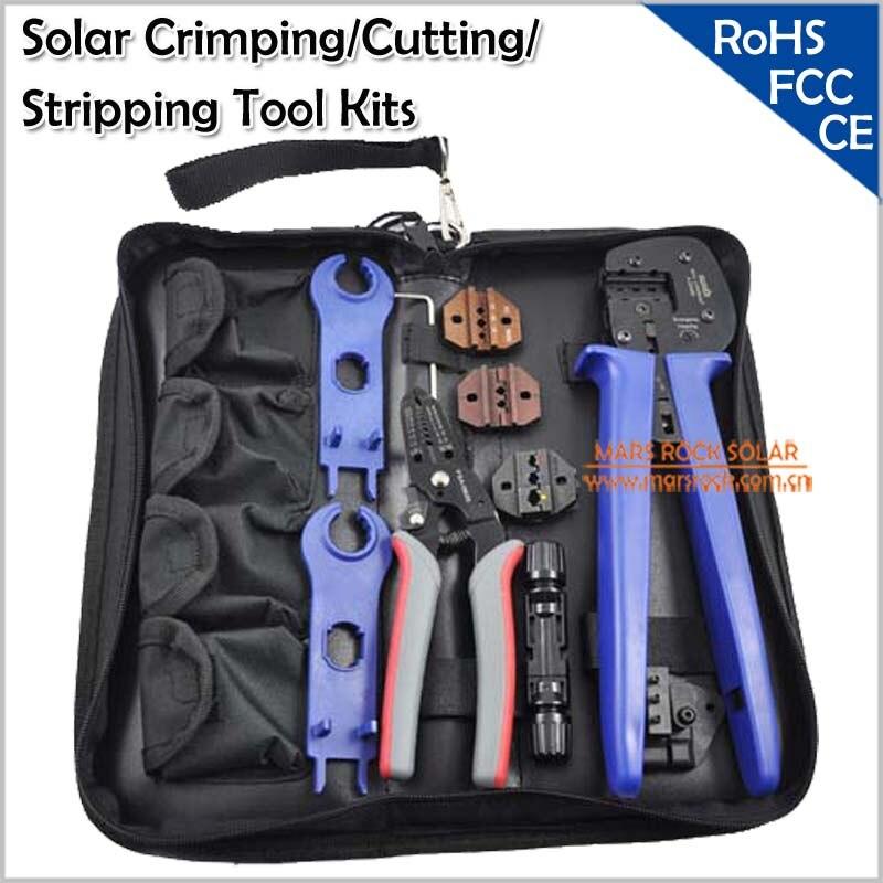 MC3/MC4 Солнечный обжим/инструмент для снятия изоляции Наборы, многофункциональный слишком комплект включает в себя обжимной/Резка/зачистки плоскогубцы