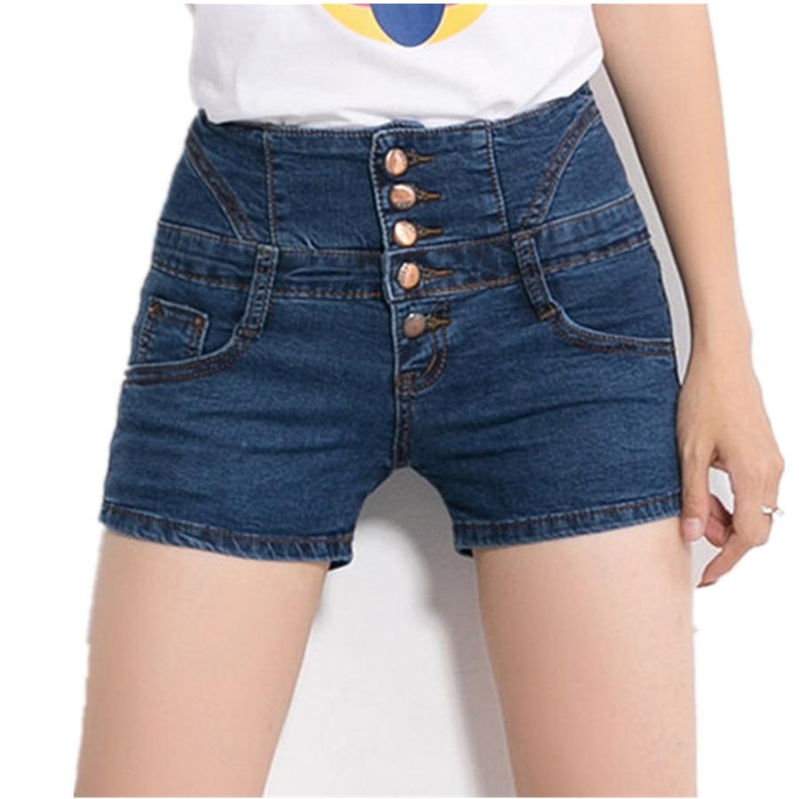New Summer Style Women Shorts high waist denim shorts female Blue stretch thin Slim Fit breasted thin Lady short Jeans Z2277