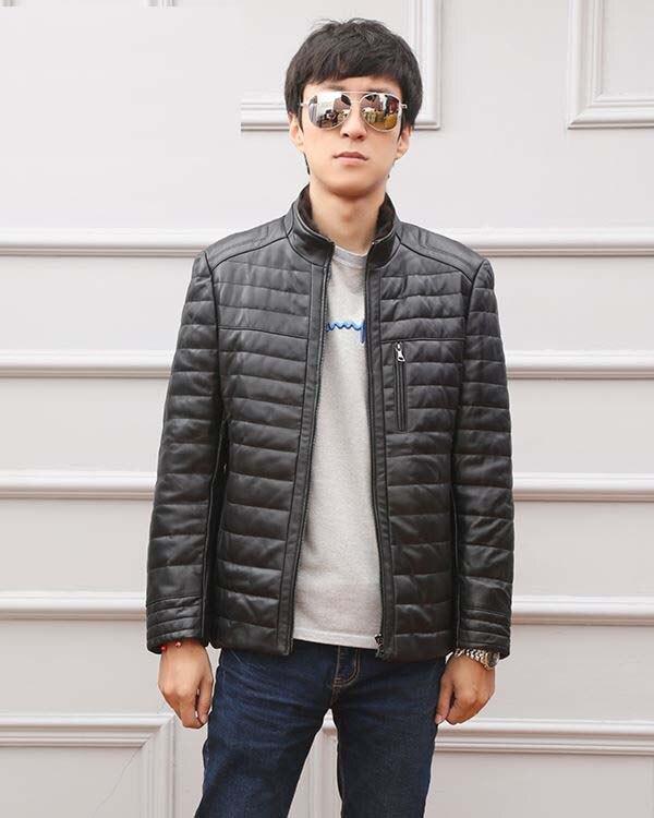 2018 new man winter fashion genuine sheepskin leather   coat   duck   down   padded male casual jackets black plus size xxxl 2xl 3xl