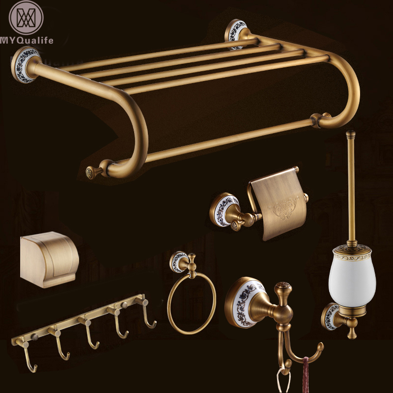 Antique Brass 7PC Bathroom Bath Hardware Sets Wall Mounted Toilet Brush Holder Towel Bars Ring Hooks Soap Dish Basket