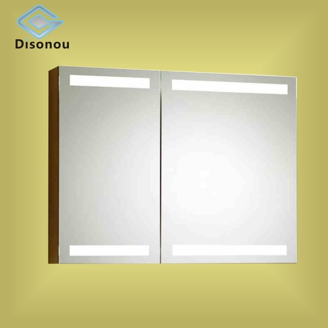 Solid wood bathroom mirror cabinet waterproof bathroom mirror free combination with lamp lens case