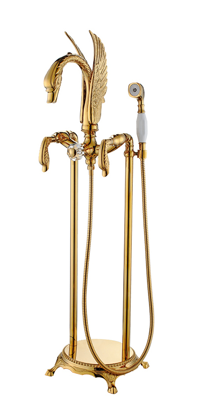 FREE SHIP Gold finish PVD SWAN Bath Tub Bathtub Faucet WITH Hand Shower