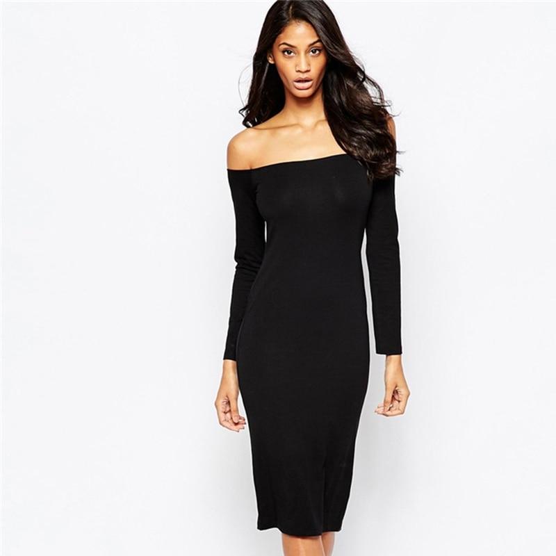 Fashion q black dress long sleeve