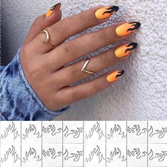 Plantilla de vinilos de uñas con 2 hojas, pegatinas huecas, plantilla de manicura calcomanías para decoración de Arte de uñas