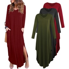 Spring and Autumn Festival hot new casual dignified long-sleeved sleeve fashion stitching womens pocket dress