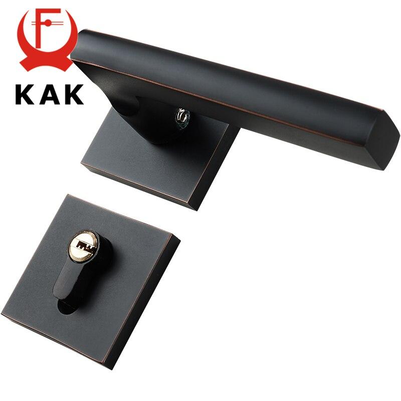 KAK Antique noir muet chambre porte serrure poignée Style américain intérieur porte boutons serrure Anti-vol porte serrure meubles matériel - 6