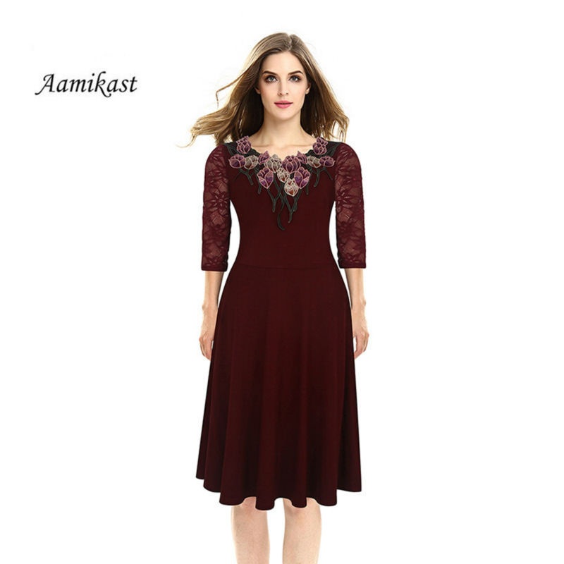 Autumn Women Dress Vintage Embroidery Flower Elegant A-Line Three Quarter Sleeve Dresses Plus Size Clothing Feminino Vestidos
