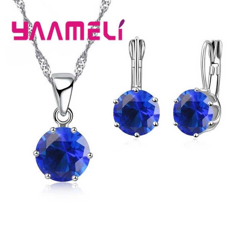 Neue Mode 925 Sterling Silber Schmuck Sets Für Frauen Hochzeit Collares Kristall Anhänger Halskette Charms Hoop Ohrringe