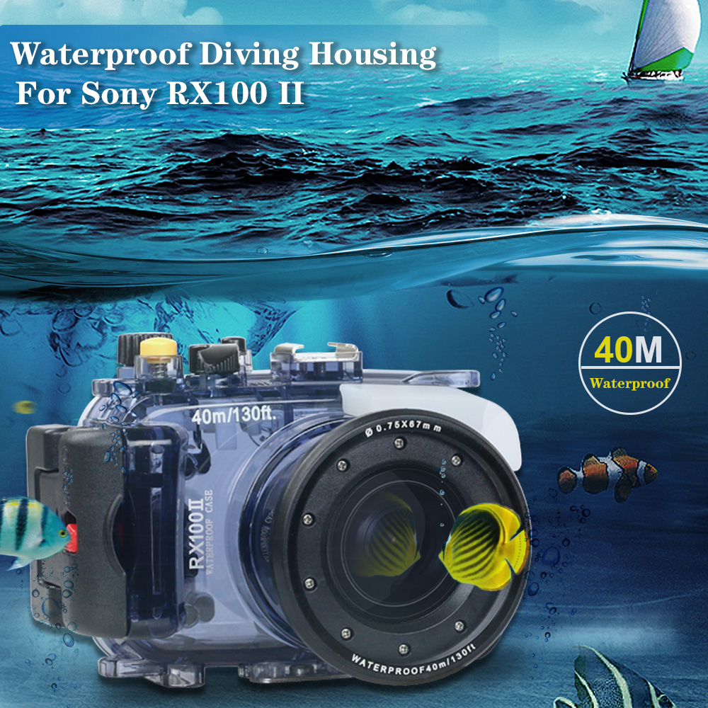 For Sony RX100 II 2 Mark II Camera Housing Case Underwater 40m Photogeraphy Waterproof Camera Bag Suitable for Swiming Surfing-in Sports Camcorder Cases from Consumer Electronics