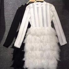 Черный и белый Цвет Дамы HL Бандажное платье трапециевидной формы без рукавов перо сексуальное облегающее платье мини с длинным рукавом Ночной клуб платье