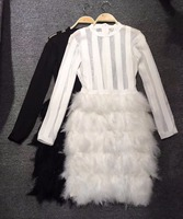 Black and White Color Ladies HL Bandage Dress Feather Sexy Bodycon Mini Dress Long Sleeve Club Night Dress