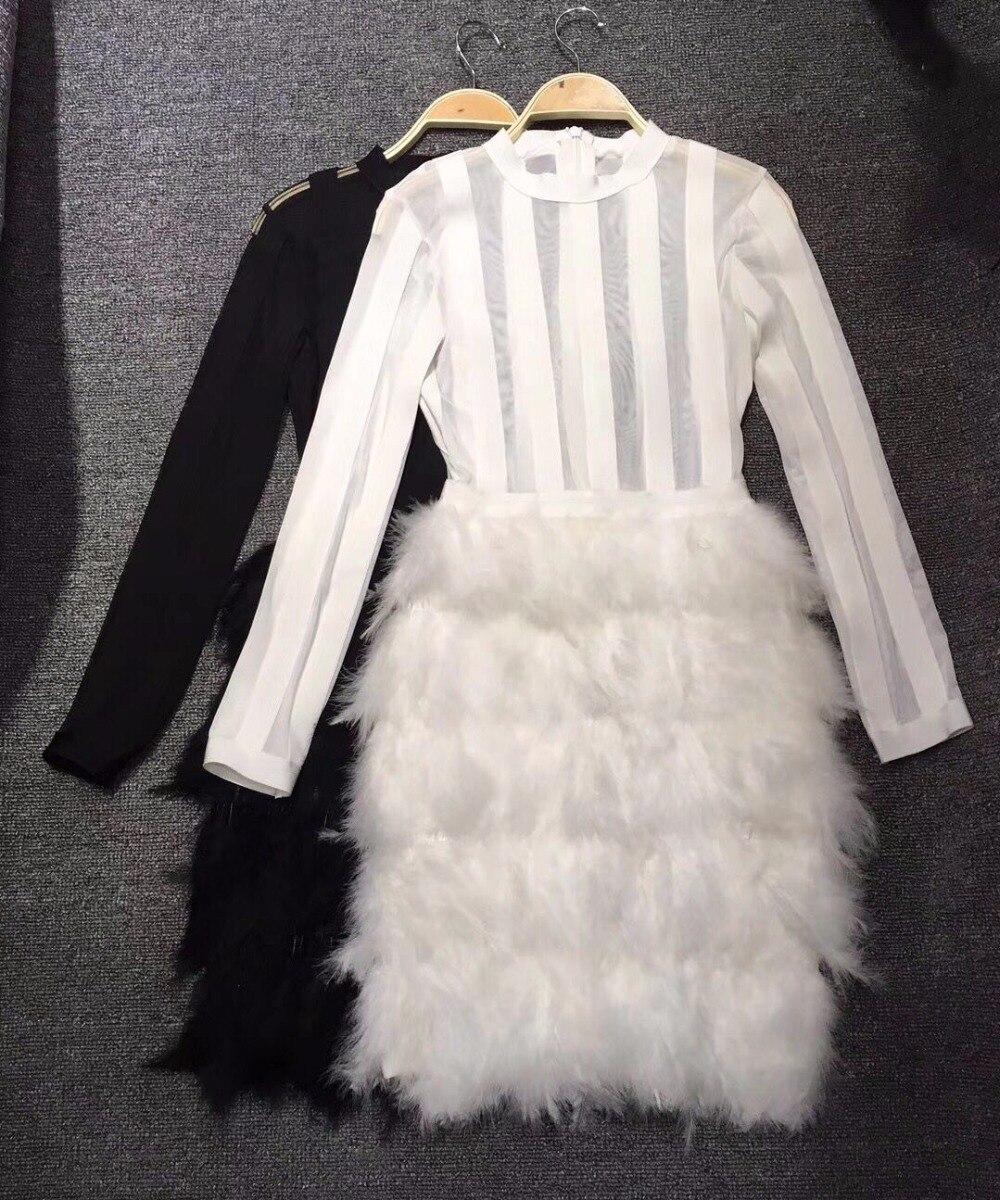 Noir et Blanc Couleur Dames HL Bandage Robe Plume Sexy Mini Robe moulante À Manches Longues Club Robe de Nuit