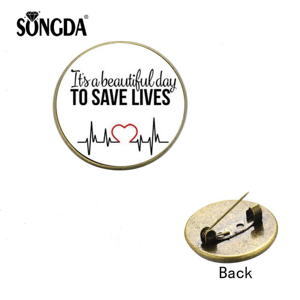 Songda Kualitas Tinggi Kreatif Dokter Perawat Bros Kreatif untuk Menyelamatkan Nyawa Kaca Cabochon Kerah Pin Kantor Lencana Medis Perhiasan