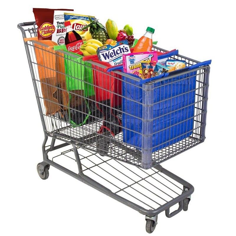 4 pçs/set Sacos de Carrinho de Compras Carrinho de Compras Reutilizável Dobrável Saco de Compras Saco de Supermercado Eco fácil de Usar e Heavy Duty bolsas