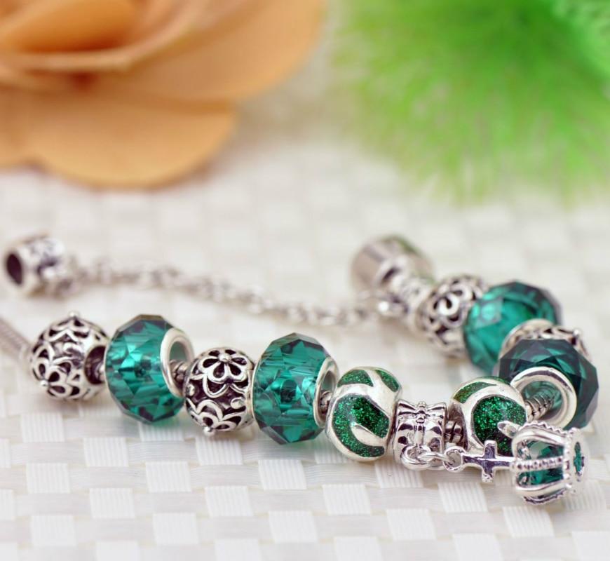 Green Color Beadeds Pandor Style Bracelet Sunspots Love Women Men Bracelet Diy Big Hole Beads Bracelet Fashion Jewelry