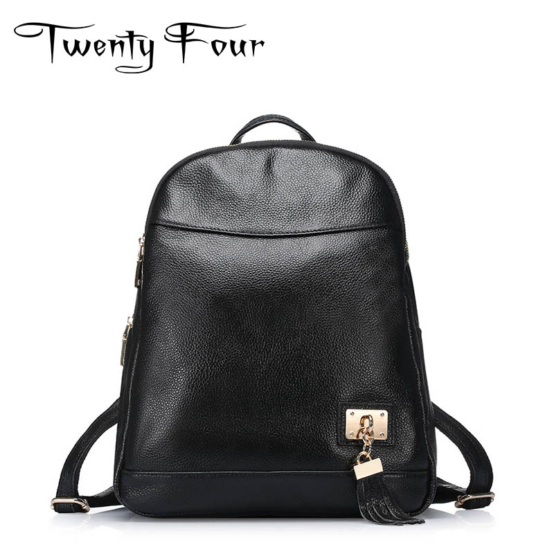 Twenty-four Genuine Leather Female Backpacks With Lock Lychee leather Designer For Teenagers Girls School Bags Vintage Mochila twenty four women backpacks genuine leather ladies travel backpack for teenagers girls bucket bag vintage real leather mochilas