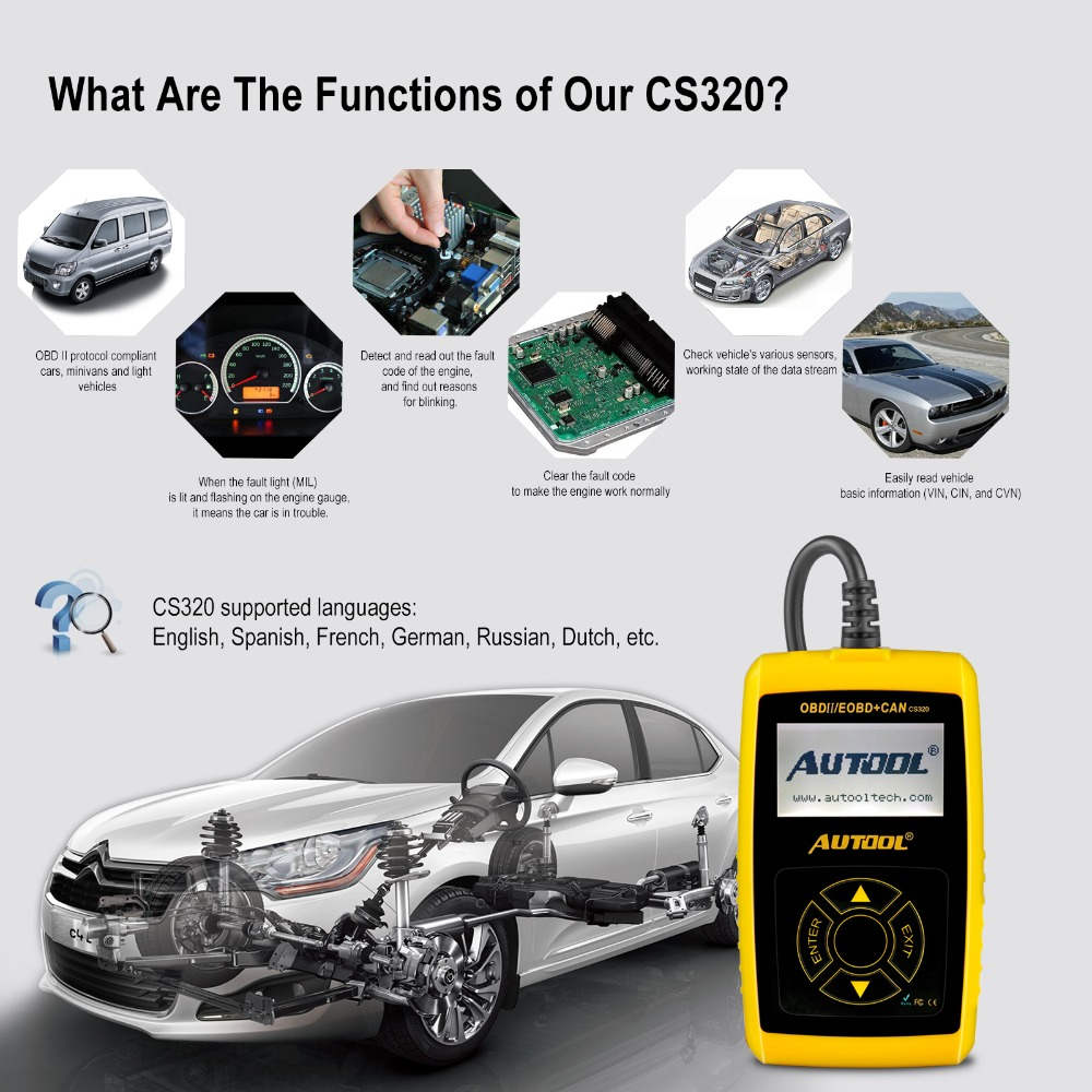 AUTOOL CS320 Car Diagnosis Code Reader Auto DIYer Code Scanner OBD/EOBD  CAN-BUS Engine Fault Scan